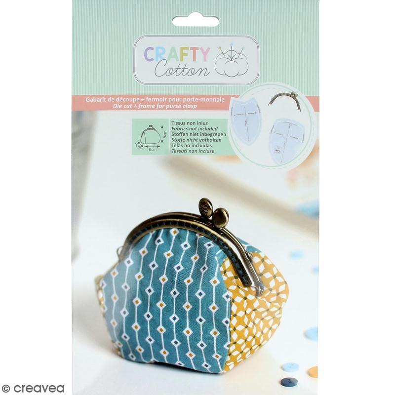 Kit porte-monnaie rond Crafty cotton - Fermoir et patron de couture - Photo n°1