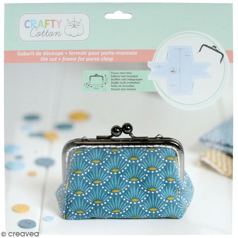 Kit porte-monnaie rectangulaire Crafty cotton - Fermoir et patron de couture - Photo n°1