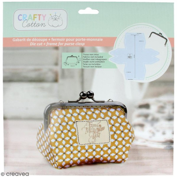 Kit porte-monnaie bourse Crafty cotton - Fermoir et patron de couture - Photo n°1