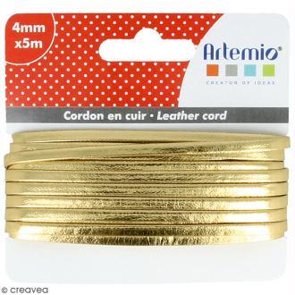 Cordon cuir 4 mm plat uni - Doré - 5 m
