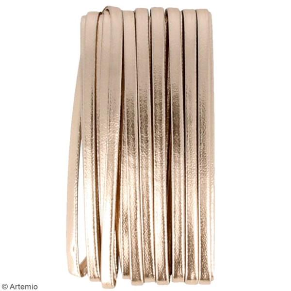 Cordon cuir 4 mm plat uni - Cuivré - 5 m - Photo n°2