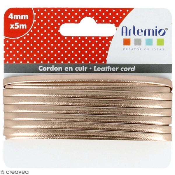 Cordon cuir 4 mm plat uni - Cuivré - 5 m - Photo n°1
