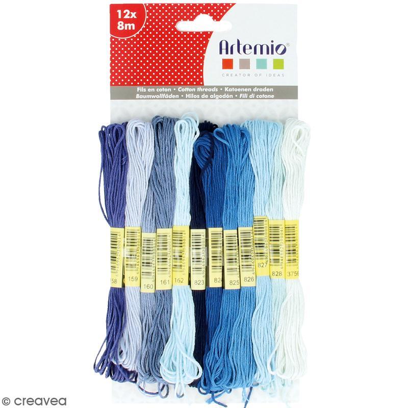 Fils en coton Artemio - Bleu - 12 échevettes de 8 mètres - Photo n°1