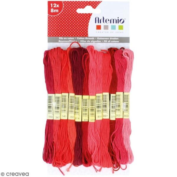 Fils en coton Artemio - Rouge - 12 échevettes de 8 mètres - Photo n°1