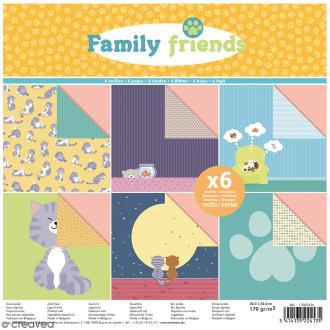 Papier scrapbooking Artemio Family friends - Chats - 30,5 x 30,5 cm - 6 feuilles