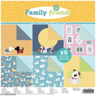 Papier scrapbooking Artemio Family friends - Chiens - 30,5 x 30,5 cm - 6 feuilles