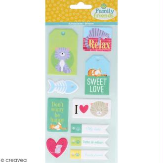 Stickers Puffies XL Family friends - Chats - 21 autocollants