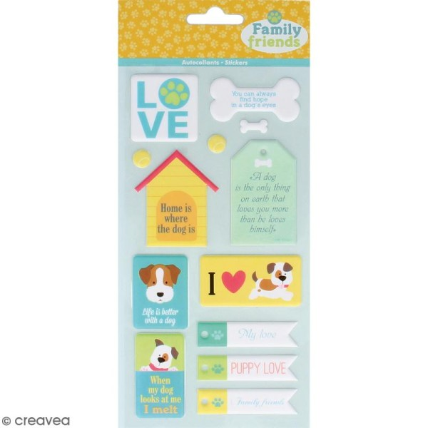 Stickers Puffies XL Family friends - Chiens - 24 autocollants - Photo n°1