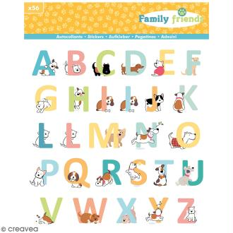 Stickers Alphabet Family friends Artemio - Chiens - 56 pcs