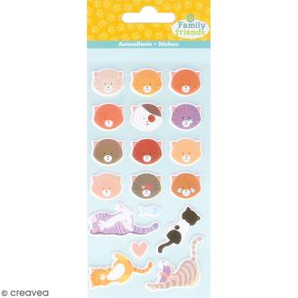 Stickers Puffies Family friends - Têtes de chats - 18 autocollants