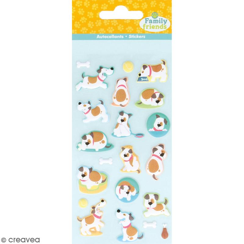 Stickers Puffies Family friends - Chiens à taches - 21 autocollants - Photo n°1