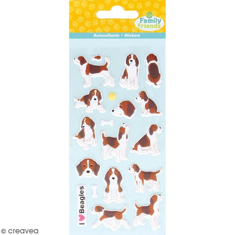 Stickers Puffies Family friends - Beagle - 20 autocollants - Photo n°1