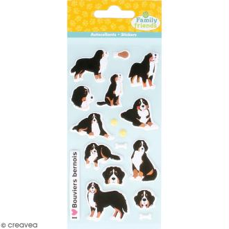 Stickers Puffies Family friends - Bouvier bernois - 17 autocollants