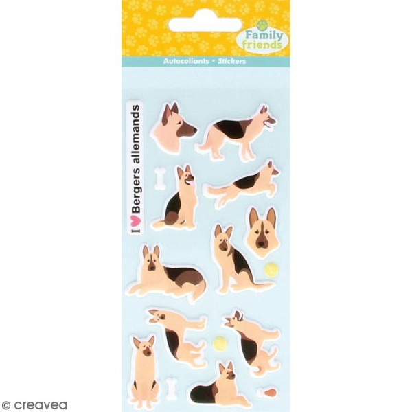 Stickers Puffies Family friends - Berger allemand - 17 autocollants - Photo n°1