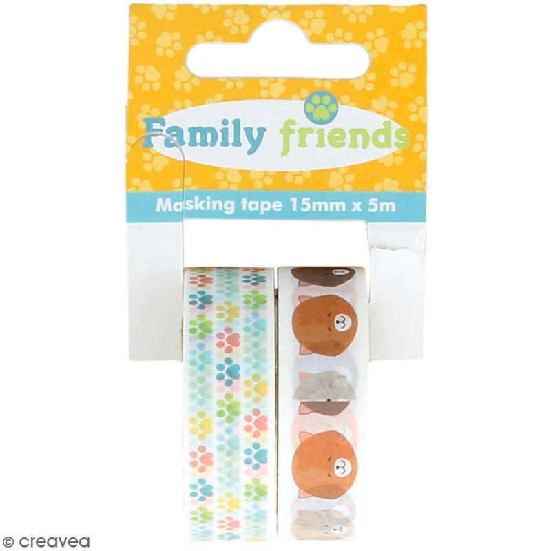 Assortiment Masking Tape Artemio Family friends - Chats - 1,5 cm x 5 m - 2 pcs - Photo n°1
