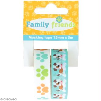 Assortiment Masking Tape Artemio Family friends - Chiens - 1,5 cm x 5 m - 2 pcs