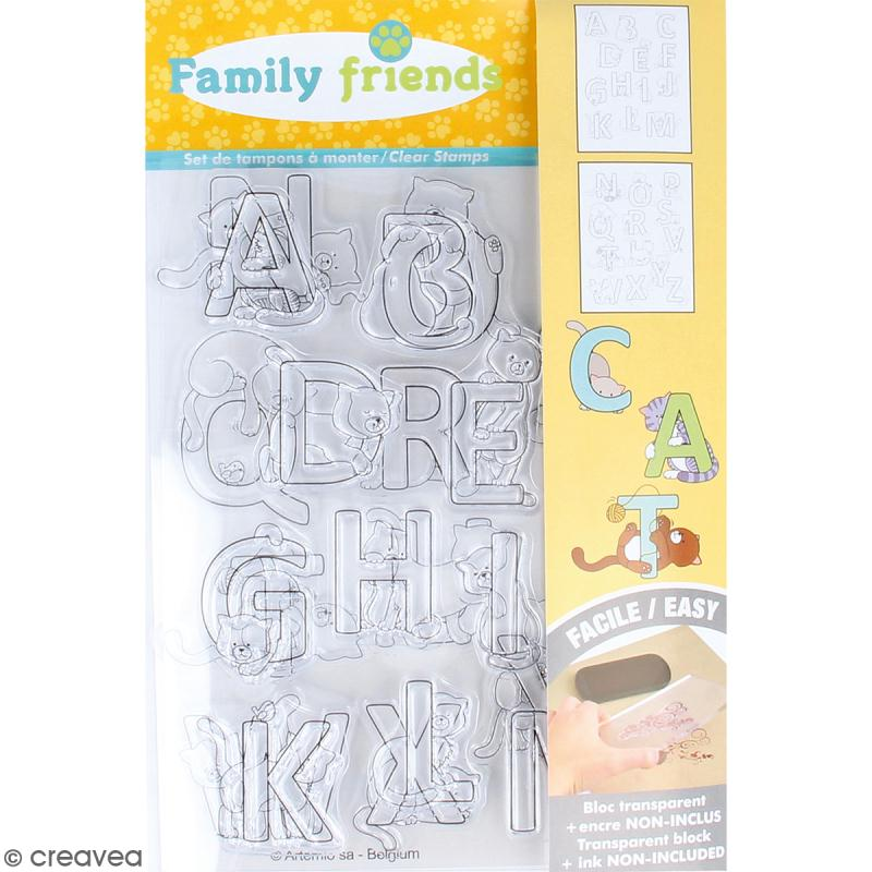 Tampon clear Artemio Family friends - Alphabet Chats - 26 pcs - Photo n°1