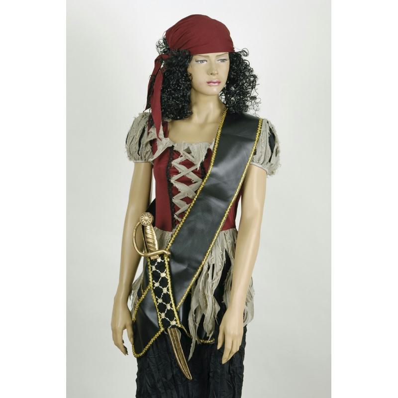 Baudrier de pirate en faux cuir noir et galon dor avec for Accessoire cuisine en ligne