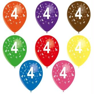 8 Ballons de baudruche chiffre 4 décorés tout autour ø 30 cm