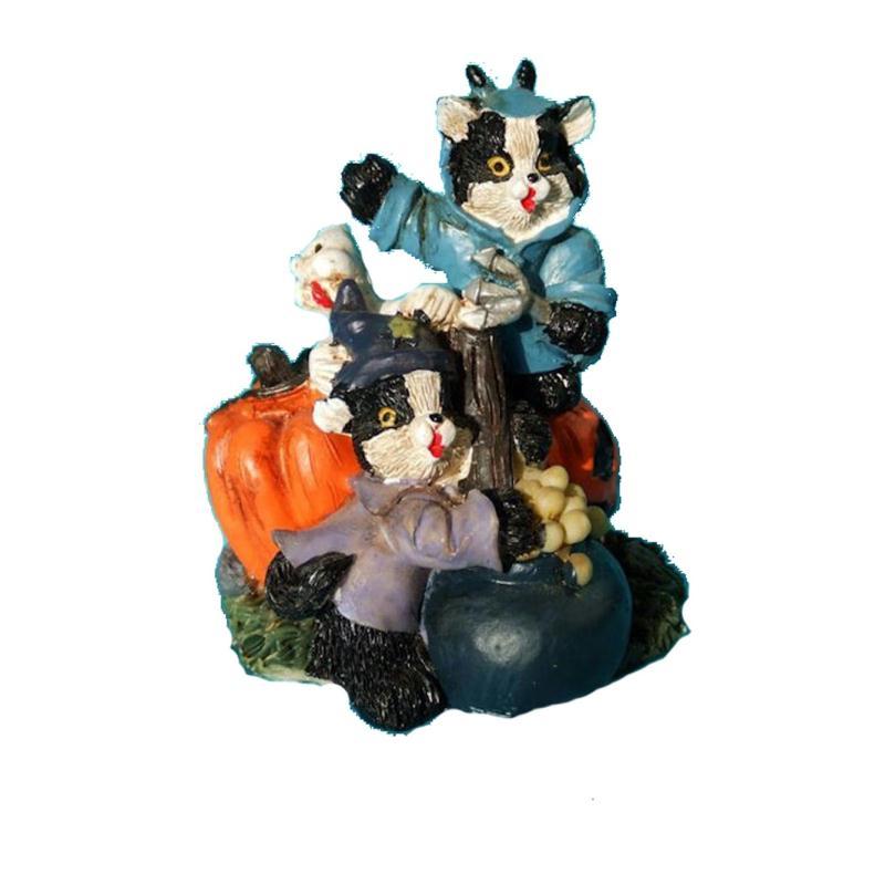 Figurine d 39 halloween deux chats noir et blanc habill s for Art et cuisine chaudron line