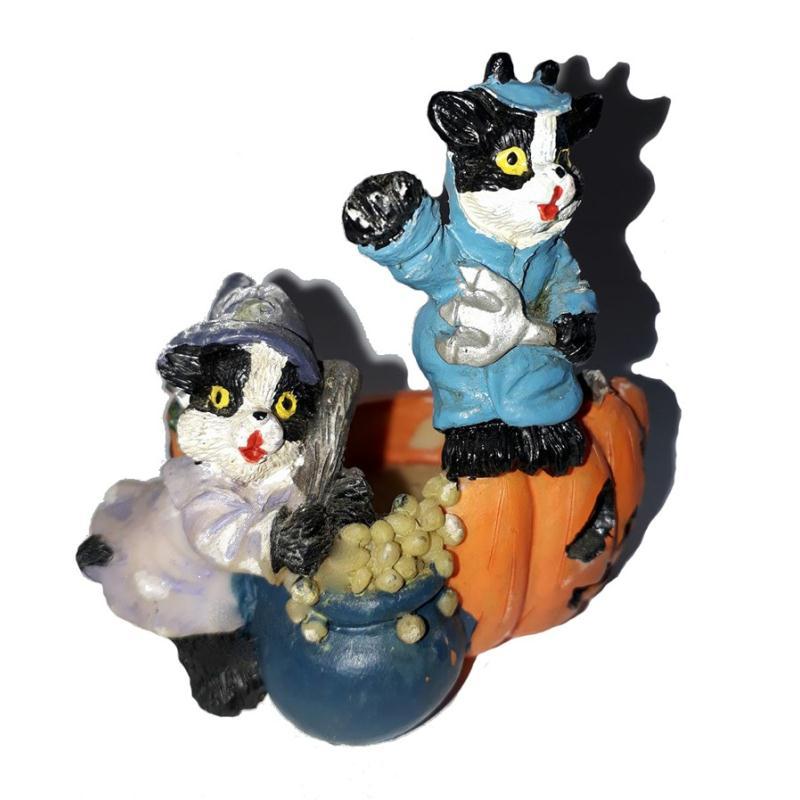Photophore d 39 halloween deux chats noir et blanc habill s for Art et cuisine chaudron line