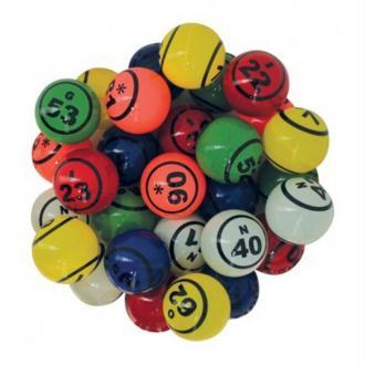 90 Balles loto en plastique multicolore Ø 38 mm