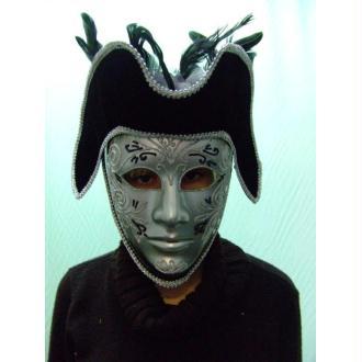Masque cavalier Masque vénitien noir et argenté
