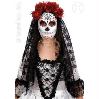 Masque blanc décor squelette mexicain noir et rouge DOD