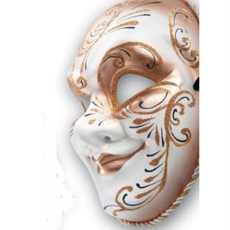 Masque façon Venise doré décor noir et paillettes
