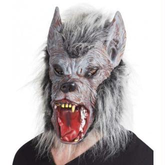 Masque de loup-garou méchant avec poils et cheveux gris