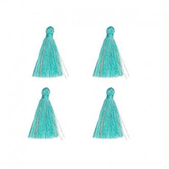 4 Pompons glands 26mm bleu-vert avec doré sans anneau