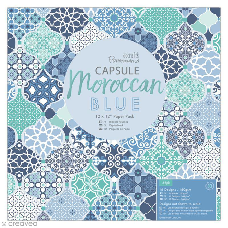 Papier scrapbooking Papermania - Collection capsule Moroccan Blue - 30,5 x 30,5 cm - 32 feuilles - Photo n°1