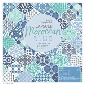 Papier scrapbooking Papermania - Collection capsule Moroccan Blue - 30,5 x 30,5 cm - 32 feuilles