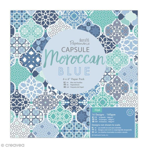 Papier scrapbooking Papermania - Collection capsule Moroccan Blue - 15 x 15 cm - 32 feuilles - Photo n°1