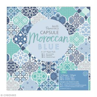 Papier scrapbooking Papermania - Collection capsule Moroccan Blue - 15 x 15 cm - 32 feuilles