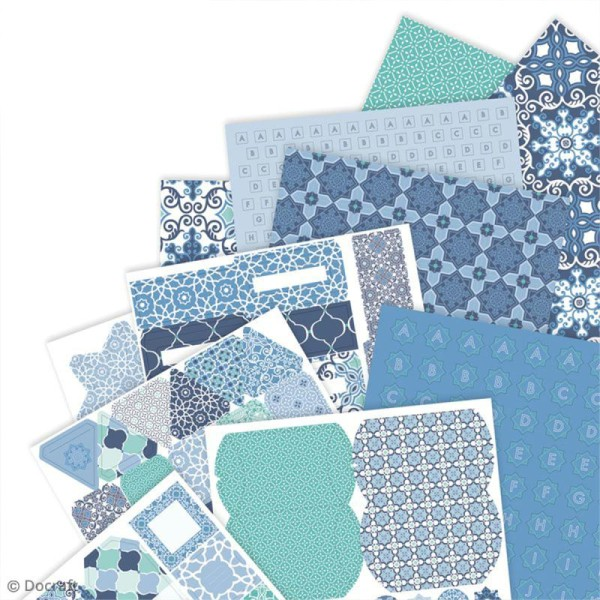 Kit complet scrapbooking Papermania - Collection capsule Moroccan Blue - 48 pcs - Photo n°2