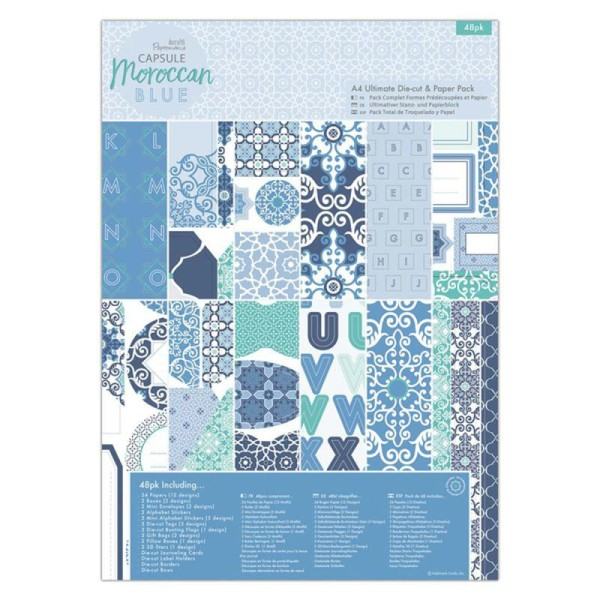 Kit complet scrapbooking Papermania - Collection capsule Moroccan Blue - 48 pcs - Photo n°1
