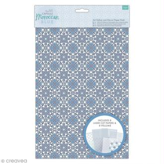 Set papier Vélin et papier découpé au laser Papermania - Collection capsule Moroccan Blue - 16 pcs