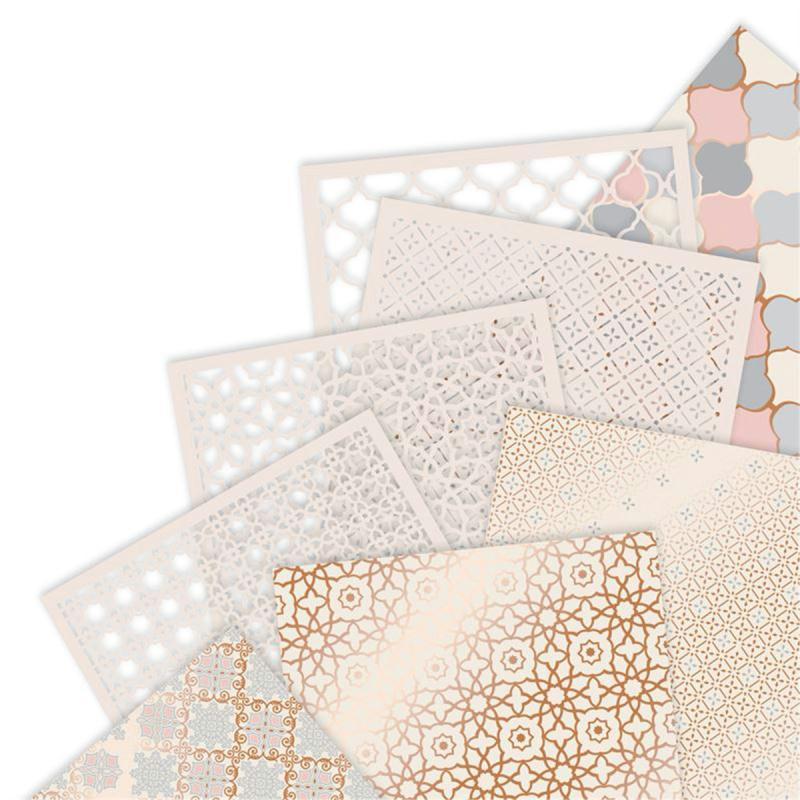 set papier v lin et papier d coup au laser papermania collection capsule moroccan haze 16. Black Bedroom Furniture Sets. Home Design Ideas