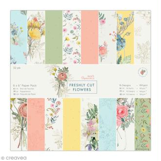 Papier scrapbooking Papermania - Collection Freshly cut flowers - 15 x 15 cm - 32 feuilles