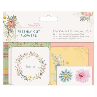 Mini enveloppes et cartes Docrafts - Collection Freshly cut flowers - 6,2 x 6,2 cm - 10 pcs
