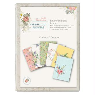 Mini enveloppes fermeture ficelle Docrafts - Collection Freshly cut flowers - 7,5 x 10,5 cm - 6 pcs