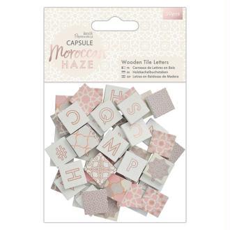 Lettres carrées en bois - Collection capsule Moroccan Haze - 2 x 2 cm - 50 pcs