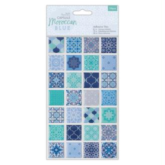 Mini carreaux de résine Papermania - Collection capsule Moroccan Blue - 2,5 x 2,5 - 56 pcs