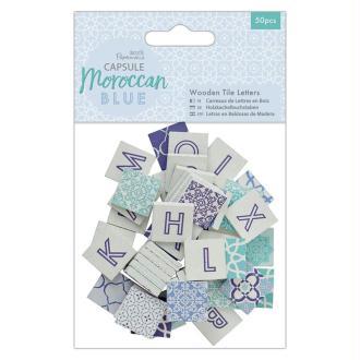 Lettres carrées en bois - Collection capsule Moroccan Blue - 2 x 2 cm - 50 pcs