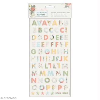 Stickers Alphabet cartonné Docrafts - Collection Freshly cut flowers - 161 pcs