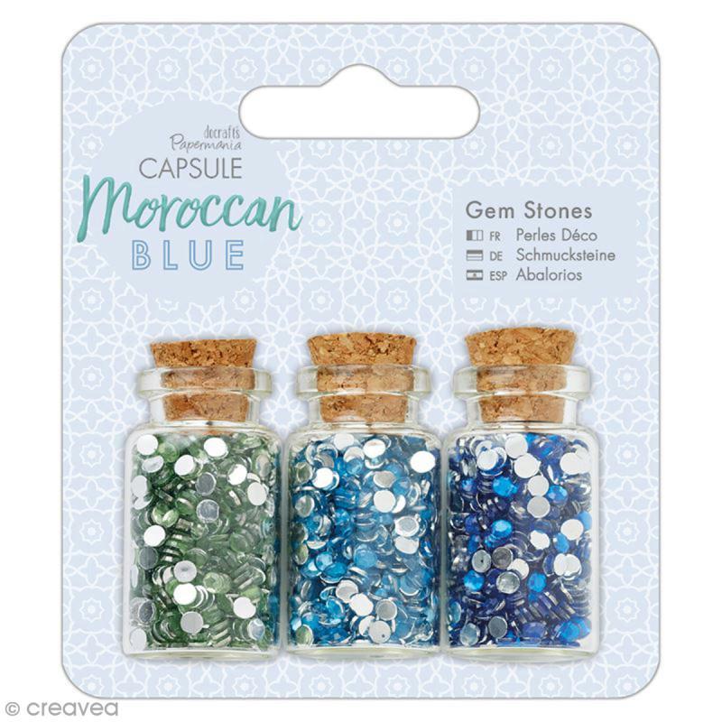 Mini bouteilles et strass à coller Docrafts - Capsule Collection - Moroccan Blue - 3 pcs - Photo n°1