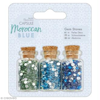 Mini bouteilles et strass à coller Docrafts - Capsule Collection - Moroccan Blue - 3 pcs