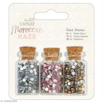 Mini bouteilles et strass à coller Docrafts - Capsule Collection - Moroccan Haze - 3 pcs