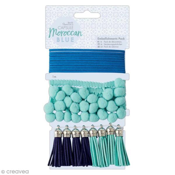 Set d'embellissements pour tissus Docrafts - Collection capsule Moroccan Blue - 10 pcs - Photo n°1
